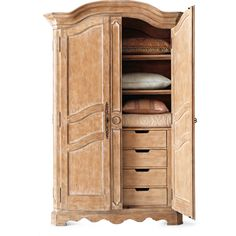Horchow Tuscany Armoire ($3,074) ❤ liked on Polyvore featuring home, furniture, storage & shelves, armoires, bedroom, armoire, cabinets, bedroom furniture, birch furniture and storage wardrobe