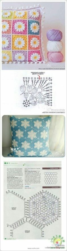 Starburst granny square is a beautiful project and a lot of people would love to know how to crochet one. Crochet Cushion Cover, Crochet Cushions, Crochet Pillow, Crochet Diagram, Crochet Chart, Crochet Motif, Hexagon Crochet, Hexagon Pattern, Crochet Granny