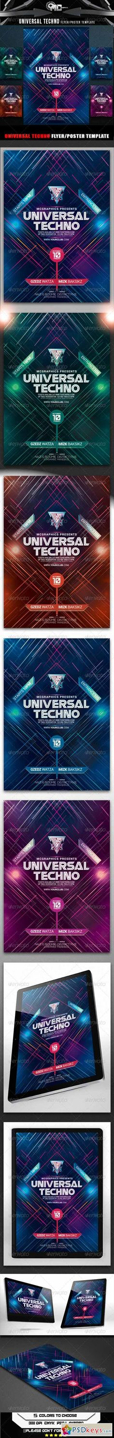 Universal Techno Flyer Poster - ss flyer club simple line space neon