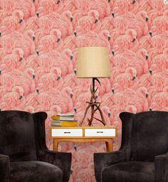 Flamingo Wallpaper! Hip Decor gives a Miami or Palm Springs Vibe.