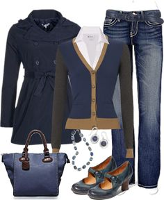 Solid-coloured jeans, though. These jeans are too casual for the cardigan, collared blouse, and jacket.