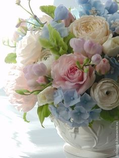 Delicate and Soft Pastel Flowers image by Marcia Thompson Pastel Flowers, Clay Flowers, Fresh Flowers, Spring Flowers, Beautiful Flowers, Arrangements Ikebana, Floral Arrangements, Arte Floral, Beautiful Flower Arrangements