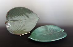 Jon Loer 2013 - Earthenware Hosta Leaf plates, Italian Green and Seafoam