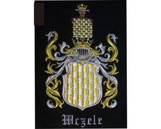 Herb rodowy WCZELE - coat of arms - AHA STUDIO Pracownia Haftu Artystycznego | HAFT ARTYSTYCZNY -HERBY, SZTANDARY, PROPORCZYKI  cena 250 zł.   ZAMÓW