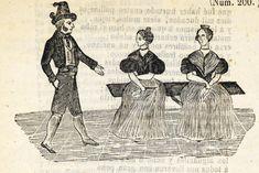 Xilografía en cabecera de un hombre con sombrero y patillas largas caminando, mientras dos mujeres están sentadas en un banco.