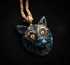 Black cat Amulette de chat totem chat noir collier chat