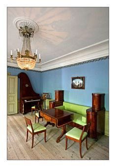 Den Gamle By. The Mayor's House - 126 Regency House, Danish Interior, Dining Chairs, Dining Table, Danish Style, Neoclassical, Drawing Room, Shelving, Backyard