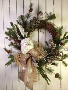 Christmas Wreath for Door Owl Christmas Decor by marigoldsdesigns