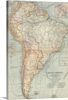 Vintage South America Map, Latin America Gift for Parents 1899 Antique Map, Office Art Gift for Coworker, Man Cave Decor Gift for Guy available from Old Maps, Antique Maps, Vintage World Maps, South America Map, Latin America, Central America, Map Wall Art, Office Art, Parent Gifts