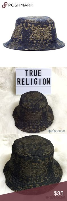 """True Religion Black Metallic Gold Skull Bucket Hat Brand new with tags, Adult, Unisex, size Small/Medium. Retails for $85! This True Religion Black and Metallic Gold Skull Bucket Hat is awesome! Black denim with a metallic gold skull design all over! Bucket hats are back and these are so on trend! The interior head diameter measures approximately 7.5"""" across for the size Small/Medium. I also have other designs available in my closet! True Religion Accessories Hats"""