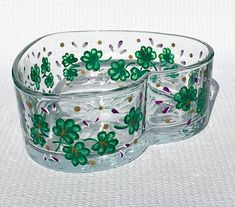 Heart Bowl With Hand Painted Shamrocks and Purple Flowers  #heartbowl #candydish #stpatricksday #irishgifts #shamrockbowl #mothersdaygift #irishdecor #handpaintedbowl