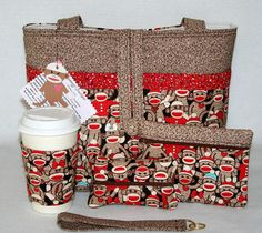 Sock Monkey Cute Handmade Tote Bag Handbag Purse Set Free Shipping | eBay