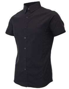 FLATSEVEN Mens Slim Fit Basic Dress Shirts Short Sleeve (SH401) Black, M FLATSEVEN http://www.amazon.com/dp/B00CVR5HZI/ref=cm_sw_r_pi_dp_8Xf2ub1K0PSHP #Men #Fashion #FLATSEVEN #Slim fit #Shirts #Short sleeve