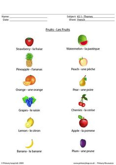 french worksheets - fruit