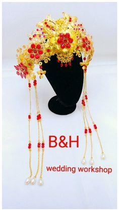 中式頭飾 Bridal headpiece Design and handmade by B&H wedding workshop