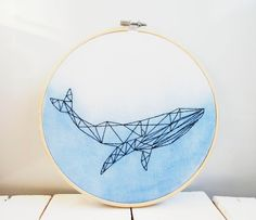 Geometric whale wall art embroidery hoop art Wall hanging Watercolor whale painting Animal embroider Source by creafabric Embroidery Hoop Crafts, Embroidery Materials, Hand Embroidery Stitches, Embroidery Thread, Embroidery Designs, Geometric Embroidery, Simple Embroidery, Flower Embroidery, Vintage Embroidery