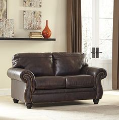 Bristan Walnut Color Traditional Classics TopGrain Leather Loveseat *** Check out the image by visiting the link.