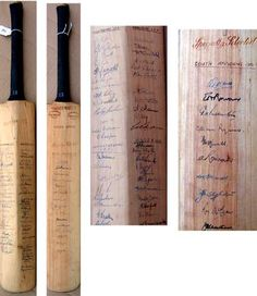 This rare item is a cricket bat signed by the 1951 South Africans. There are 15 signatures in ink to the face of the bat, including EAB Rowan, JHB Waite, DJ McGlew, AD Nourse, JE Cheetham, GM Fullerton, CB van Ryneveld, AMB Rowan, NBF Mann, GWA Chubb, and CN McCarthy.  The reverse additionally signed by nine members of the 1953 Australians including Lindwall, Benaud, Hassett, Johnston, Harvey, Hole and county the teams of Worcestershire, Derbyshire, Leicestershire and Essex. Cricket Bat, Derbyshire, Spikes, Cherries, Boys, Face, Cnd Nails, Maraschino Cherries, Baby Boys