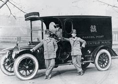 fc7bde7d Letter carriers and driver pose with a Parcel Post truck in Baltimore,  Maryland, in