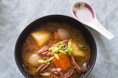 Hearty miso soup recipe, Bite – This rustic soup is just the thing to serve after a dose of winter exercise - Eat Well (formerly Bite) Asian Recipes, Real Food Recipes, Soup Recipes, Cooking Recipes, Yummy Food, Onion Vegetable, Carrot Greens, Quick Easy Dinner, Miso Soup