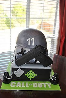 Call of Duty Cake. My 9 year old wants me to make this for his bday! we'll see!! Minus the gun