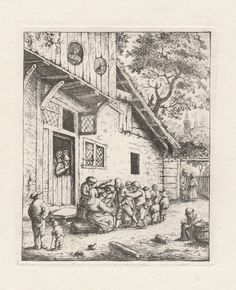 Etching after Adriaen Van Ostade - The Village Feast - Etching #Expressionism