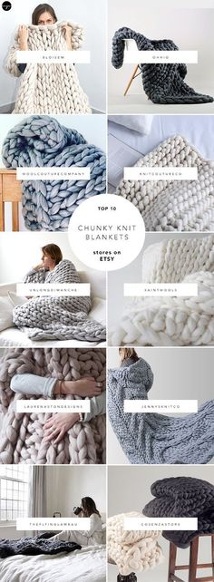 10 best sources for chunky knit blankets on Etsy . - 10 best sources for chunky knit blankets on Etsy … 10 best source - Large Knit Blanket, Chunky Blanket, Chunky Knit Throw, Chunky Knits, Chunky Crochet, Knot Blanket, Home Decoracion, Arm Knitting, Knitting Ideas