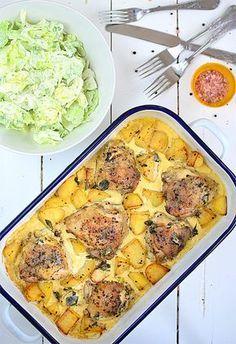 Kurczak pieczony z ziemniakami w sosie śmietankowo-musztardowym