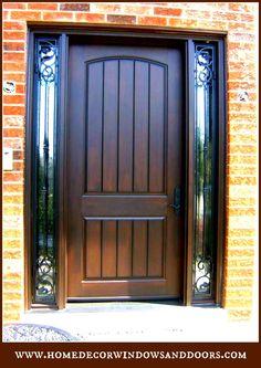 "Custom 8"" Fiberglass Door System with Wrought Iron Sidelights"