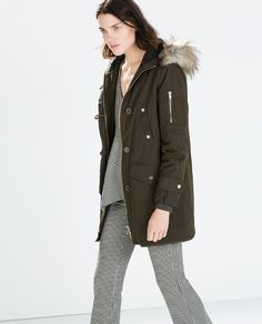 ZARA - SALE - LONG PARKA WITH QUILTED LINING AND DETACHABLE FUR