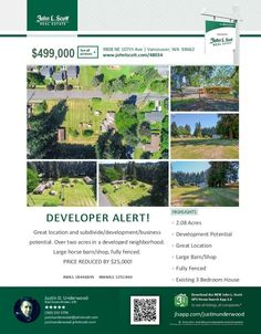 Real Estate NOW for sale at $499,000! Come and view this three bedroom, one bath, 1760 square foot one level ranch style home on a fully fenced 2.08 acre sub-dividable lot with a large horse barn and shop located at 9808 NE 107th Avenue, Vancouver, Washington 98662 in Clark County area 62 which is the Brush Prairie or Hockinson area in Clark County. The RMLS number is 18446845. It has two wood burning fireplaces and a territorial view. It was built in 1950 and has an attached two car garage…