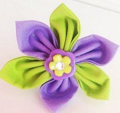 Lime Green & Purple Girl Dog Collar Flower