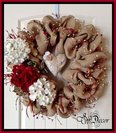 Burlap Wreaths Valentines Wreaths Heart Wreath Berries Red White Hydrangeas by JWDecor on Etsy https://www.etsy.com/listing/175204540/burlap-wreaths-valentines-wreaths-heart