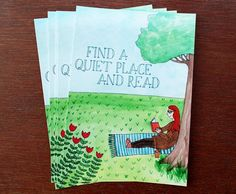 Find A Quiet Place and Read  Postcard by sarahfrancesart on Etsy, £1.50