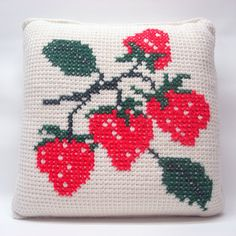 Cross-stitched strawberries make a pretty pillow.  |  ElRitmoRetro on Etsy