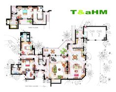 """. This is the Malibu Beach house of Charlie Harper (not the makeover made by Walden Schmidt) from the show """"Two & a Half men"""".  .  This is a hand drawed plan, in scale, coloured with colour pens and with full details of furniture and complements. The design is made according with the """"real"""" apartments respecting the spaces, proportions, furniture and objets presents in the studio. If you want an original write me to ializar@hotmail.com or visit my ETSY store."""