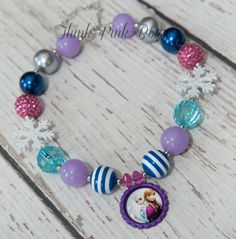 Frozen Girls Chunky Necklace,  Elsa and Ana Frozen inspired Girls Bubblegum Chunky Necklace, 5 STYLES to choose from, Bubble gum Necklacs. on Etsy, $9.95