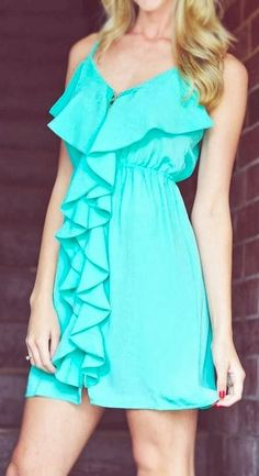 Teal ruffled dress. Casual wear for summer | Gloss Fashionista