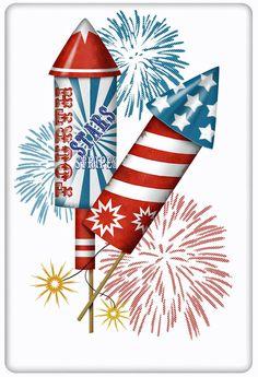 July 4th Americana Fireworks 100% Cotton Flour Sack Dish Towel Tea Towel