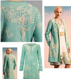IVKO Woman`s Floral Pattern Embroidery Cotton Coat in soft aqua.  Unstructured comfort with raised white rope embroidery, making this a textural standout at any summer occasion.
