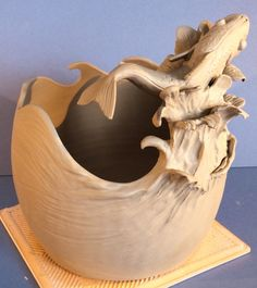 Earth Wool Fire | New yarn bowl design. 'To catch a Fish' Unfired....