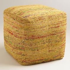 One of my favorite discoveries at WorldMarket.com: Yellow Recycled Faux Silk Pouf