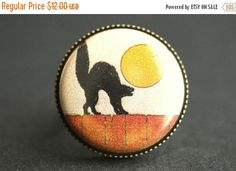 SUMMER SALE Black Cat Ring. Halloween Ring. Button Ring. Adjustable Ring. Bronze Ring. Vintage Print Ring. Halloween Jewelry. Handmade Jewel by StumblingOnSainthood from Stumbling On Sainthood. Find it now at http://ift.tt/2sweFbF!