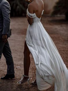Cap Sleeve Beach Chiffon Wedding Dress with Slit Boho Wedding Dress YS Anna PromDress Wedding Beach Bridal Dresses, Sweet Wedding Dresses, How To Dress For A Wedding, Lace Beach Wedding Dress, V Neck Wedding Dress, Formal Dresses For Weddings, Cheap Wedding Dress, Wedding Gowns, Hip Wedding