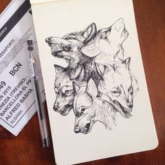 Wolfs Fast drawing. Diverse Black and White Surreal Drawings. By Alfred Basha.