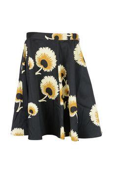 Troubadour Womens Black Multi Dandy Floral Flared Full Skirt 6 $375 New #Troubadour #FullSkirt