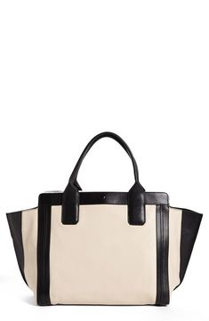 Chloé Black and White Leather Tote.