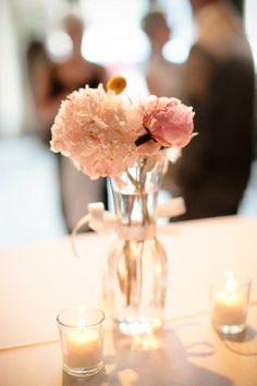 Simple peony in glass jar Peonies Centerpiece, Elegant Centerpieces, Flower Centerpieces, Wedding Centerpieces, Pink Peonies, Pink Flowers, Peony, Wedding Colors, Wedding Flowers