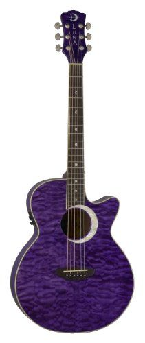 Inlaid Crescent Rosette Top: Quilted Maple Back & Sides: Maple Body: Folk Neck: Mahogany Best Acoustic Guitar, Acoustic Music, Cool Guitar, Acoustic Guitars, Purple Haze, Shades Of Purple, Best Electric Pressure Cooker, Luna Guitars, Guitar Reviews