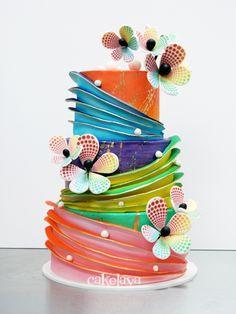 Elegant Pink Silver topsy turvy cake Cakes Pinterest Cake